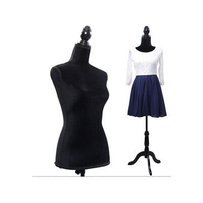 Female Mannequin Torso Clothing Display W/ Black Tripod Stand Fiberglass Black