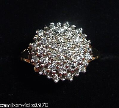 9ct Gold 0.50ct Diamond Cluster Ring, Size L 1/2