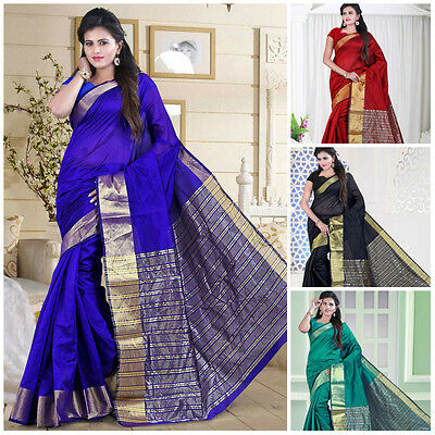 Bollywood Indian Saree Cotton Party Wear Designer Zari Work Sari Ethnic Dress