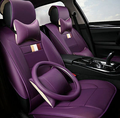 5Seat Covers Cushion Set Leather Universal Car Seat Cover Four Seasons 11PCS NEW