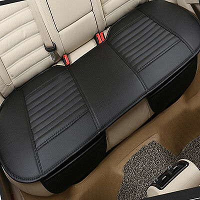 3D Universal Bamboo Charcoal Cushion Pad PU Leather Car Rear Seat Cover Black