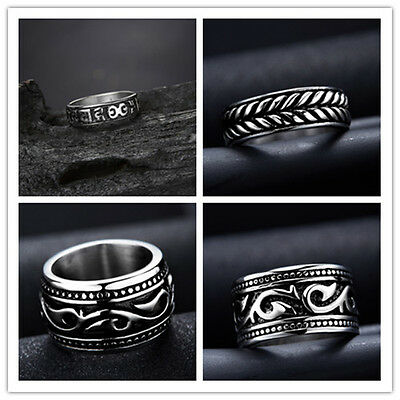 316L Stainless Steel Steam Men Punk Ring Gothic Rings Style Fashion Men Jewelry