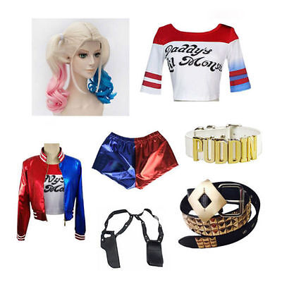 UK Suicide Squad Harley Quinn Daddy's Coat Lil Monster Jacket Shorts Cosplay Lot