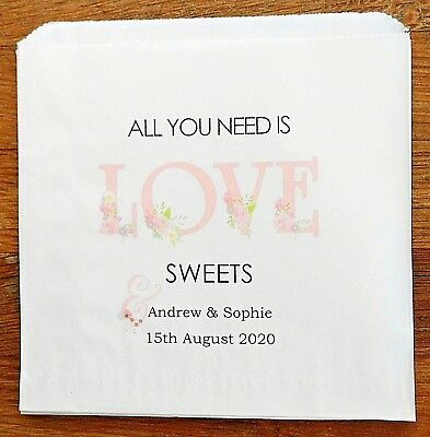 Personalised White Paper Wedding Sweet Bags Candy Cart Favour Cake