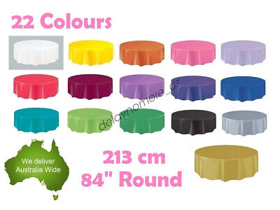 Round Wedding Party Tablecover Table Cover Cloth Plastic Tablecloth Birthday 84""