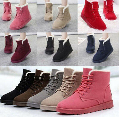 2016 Women's Flat Lace Up Fur Lined Winter Martin Boots Snow Ankle Boots Shoes S