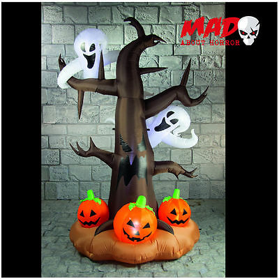 GIANT 2.4m Airblown Inflatable - Halloween Haunted Tree with Ghosts & Pumpkins