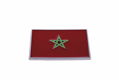 Morocco Flag Car Emblem Sticker Badge 3D Decal Chromed Red Silver Styling