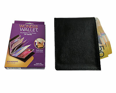 Wonder Wallet - Amazing Slim RFID Wallets Genuine Leather As Seen on TV, Black