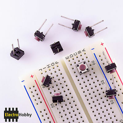 10x Push button 6x6x5mm Pata long R breadboard - Pins long, breadboard, Arduino