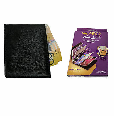 Wonder Wallet - Genuine RFID Wallets Amazing Slim Leather As Seen on TV, Black