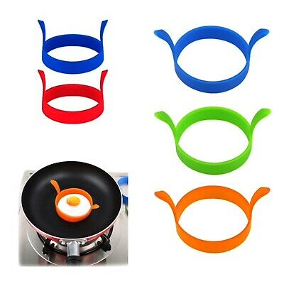 4 X  Silicone Egg Frying Rings Fry Fried Poacher Mould Perfect For Pancakes Ring