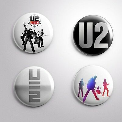 4 U2 - Pinbacks Badge Button Pin 25mm 1''