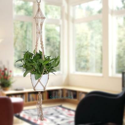Handmade Macrame Plant Hanger Flowerpot Holder Pot Lifting 4Leg String Rope Cord