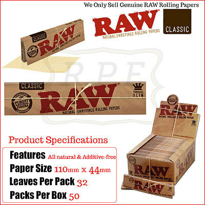 RAW King Size Slim Classic Rolling Papers - 1 Full New Box - 50 Packets Genuine