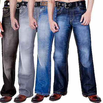 New Mens Bootcut Wide Leg Flared Basic Denim Jeans Belt Blue All Waist Sizes