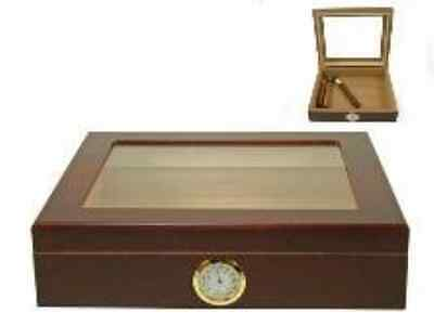 Humidor for 20 Cigars Glass Lid External Hygrometer