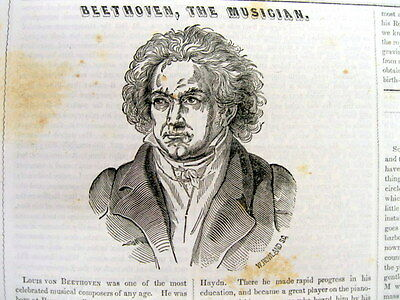 1846 newspaper LUDWIG van BEETHOVEN ENGRAVING Classical Music FIFTH SYMPHONY