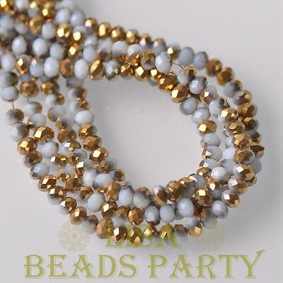 New 100pcs 4X3mm Rondelle Faceted Loose Spacer Glass Beads Porcelain White &Gold