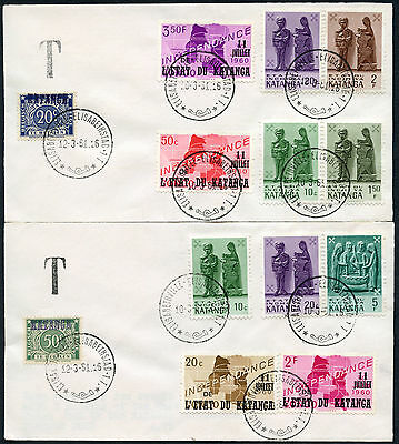 KATANGA 1960 POSTAGE DUES + INDEPENDENCE ISSUES on 2 PHILATELIC COVERS