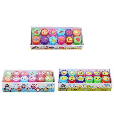 12x Cute Smile Smiley Face Stamps Set Stationery Kids Gift Party Toy Art Craft V