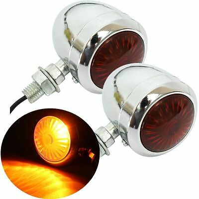 2x 12V Motorcycle Turn Signal Indicator Light Lamp #J For Harley Scooter Chrome