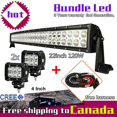 "22inch Curved LED Light Bar +2x 4"" CREE Pods Led Work Light Truck Jeep SUV 24/20"