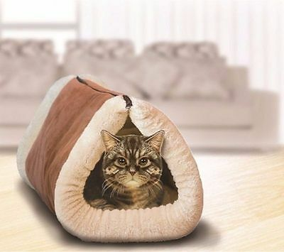 Kitty Kave 2 in 1 Tunnel Cat Mat/Pet Fleece Bed Lounge Play Snuggle/Dog 87cm