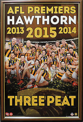 Hawthorn Afl Premiers 2013 2014 2015 Three Peat Poster Framed