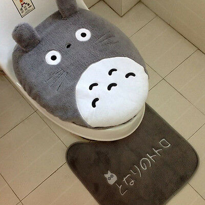 3 Piece/set New Toilet Seat Cover Totoro Cartoon Warm Close Stool Cushion Mat