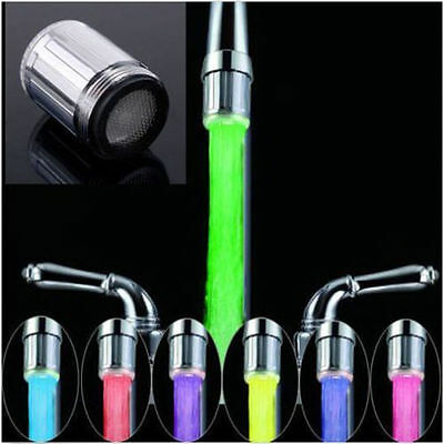 LED Water Faucet Stream Light Changing Glow Shower Stream Tap Head + Faucet