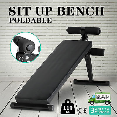 AB Sit Up Bench Board Abdominal Crunch Fitness Workout Home Gym Exercise Folding