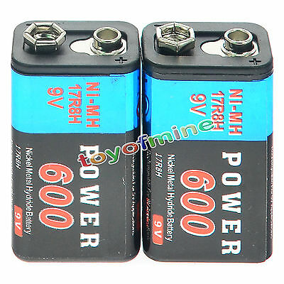 2pcs Durable 9V 9 Volt 600mAh Power Ni-Mh Rechargeable Battery Cell PPS block