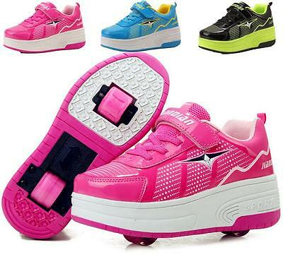 Unisex Girls Boys Shoes Retractable  Wheels Roller Skate Heelys Kids Sneakers