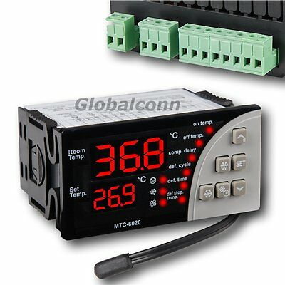 Digital Temperature Controller Thermostat 4-Output Aquarium Dual Screen 110V