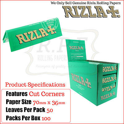 Rizla Green Regular Size Cigarette Rolling Papers - 100 Packs