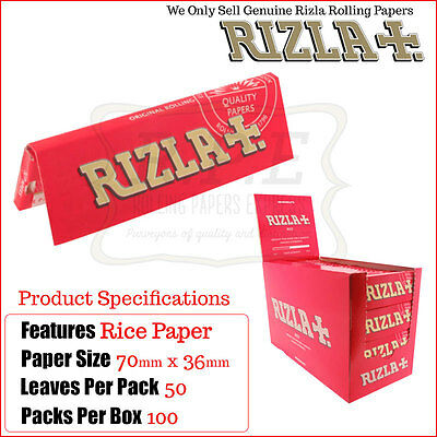 Rizla Red Regular/Standard Size Cigarette Rolling Papers - One Full New Box