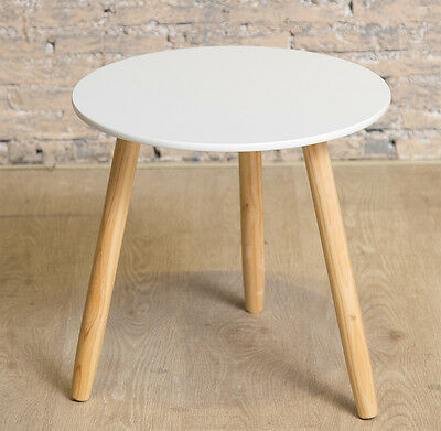 Scandinavian Skandi Side Table Bedside Round Living Room Wood White