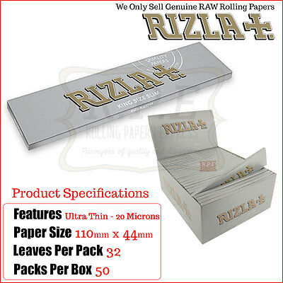 Rizla Silver Ultra Thin King Size Slims Cigarette Rolling Papers - One Full Box