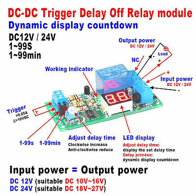 DC 12V 24V LED Display Digital Delay Timer Control Switch Turn Off Relay Module