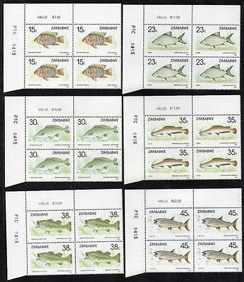 ZIMBABWE MNH 1989 Fish Cylinder Block of 4