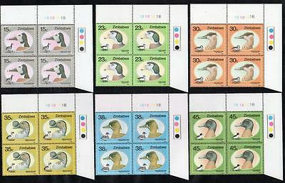 ZIMBABWE MNH 1988 Ducks and Geese Cylinder Block of 4