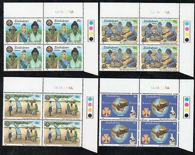 ZIMBABWE MNH 1987 75th Anniversary of the Girl Guides Cylinder Block of 4