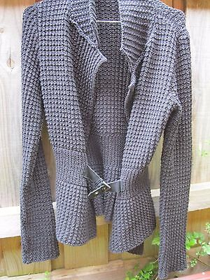 As New CHUNKY BLACK COTTON KNIT CARDIGAN WITH WAIST BUCKLE ROMANIA  8 10