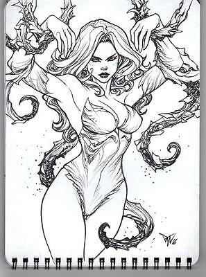 Paolo Pantalena 2016 Sdcc Sketchbook With Original Art Poison Ivy Drawing
