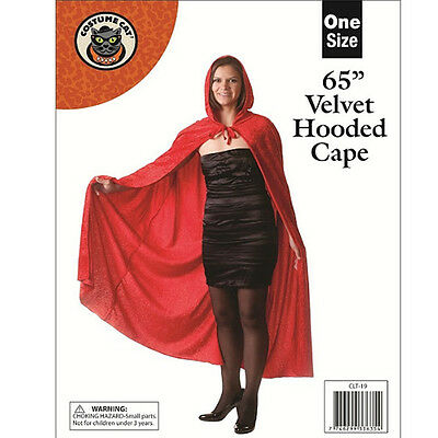 65 Inch Long Adult Red Velvet Hooded Dracula Cape Cloak Halloween Fancy Dress