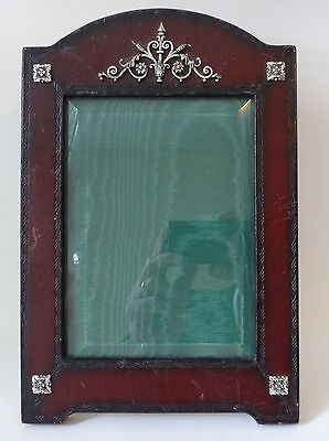 """Solid sterling silver & Leather large vintage PHOTO FRAME by Maitland Smith 11"""""""