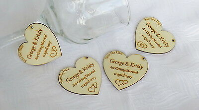 50 x Personalised Wedding Hearts Custom Laser Engraved Wooden Table Decorations