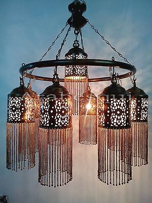 BR372 Antique Style Handmade Brass Ring 9 Down Light Large Moroccan Chandelier