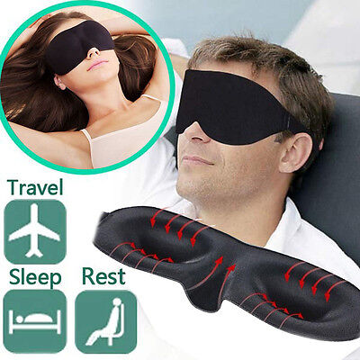 Soft Padded Blindfold Black Eye Mask Travel Rest Sleep Aid Shade Cover Unisex